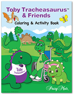 Passy Muir Toby Tracheasaurus coloring activity book